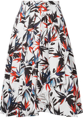 Jason Wu Pleated Printed Cotton-poplin Skirt - White