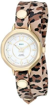 La Mer Women's LMDELMARDW1506 Del Mar Watch with Leopard Wrap Band