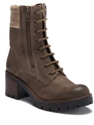 Manas Design Suede Lace-Up Block Heel Boot