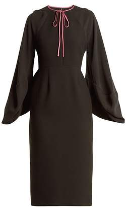 Roksanda Atlen Puff Sleeved Crepe Cady Pencil Dress - Womens - Black