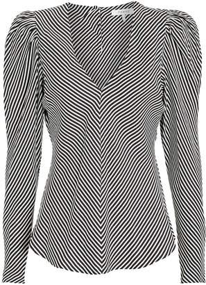 Frame Shirred Silk Stripe Blouse