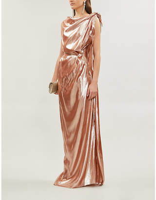 Roland Mouret Silvabella metallic silk-blend full-length gown