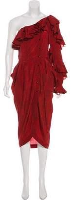 Philosophy di Lorenzo Serafini One-Shoulder Silk Dress w/ Tags