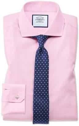 Charles Tyrwhitt Super Slim Fit Pink Non-Iron Twill Cotton Dress Shirt French Cuff Size 14.5/33