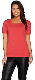 Joan Rivers Classics Collection Joan Rivers Short Sleeve Square Neck Sweater