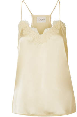 CAMI NYC The Racer Lace-trimmed Silk-charmeuse Camisole - Pastel yellow