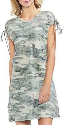 Vince Camuto Shoulder-Tie Camo Print Dress
