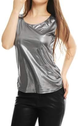 Allegra K Women's U Neck Sleeveless Stretch Metallic Tank Top Silver Grey XS