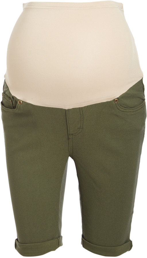 Olive Over-Belly Super Stretch Twill Maternity Bermuda Shorts