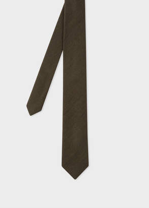 Paul Smith Men's Khaki Herringbone Pattern Narrow Silk Tie