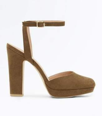 New Look Khaki Suedette Two Part Platform Courts