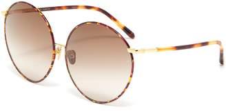 Linda Farrow Metal bridge tortoiseshell acetate oversized round sunglasses