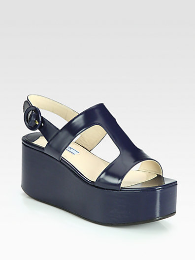 Prada Leather T-Strap Platform Wedge Sandals