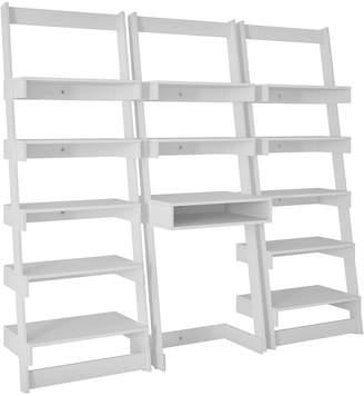 Manhattan Comfort 3 Piece Carpina Home Floating Ladder Shelf Office Desk