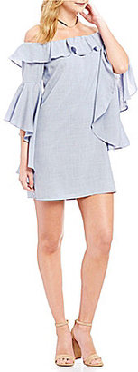 WAYF Kiera Ruffled Chambray Off-the-Shoulder Bell Sleeve Dress $99 thestylecure.com