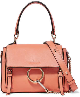 Chloé Faye Day Mini Textured-leather Shoulder Bag - Peach