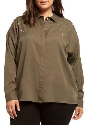 682d1a15a8a Dex Plus Long Sleeve Pearl Embellished Shirt