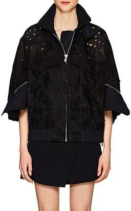 Sacai Women's Zip-Detailed Embroidered Cotton Bomber Jacket