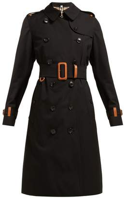 Burberry Leather Trimmed Cotton Gabardine Trench Coat - Womens - Black