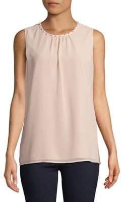 Karl Lagerfeld Paris Sleeveless Pearl-Collar Blouse