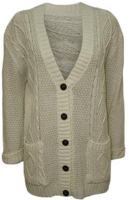 1a9413380cae3e ... quality eba72 ddfee at Amazon Canada · WearAll Womens Cable Knitted  Button Cardigan Ladies Long Sleeve ...