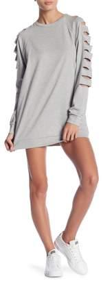 Romeo & Juliet Couture Slashed Long Sleeve Sweatshirt Dress