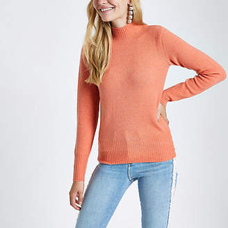 River Island Coral knit turtle neck sweater