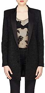 Saint Laurent Women's Embellished Wool-Cashmere Long Two-Button Blazer - Black