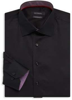 Contemporary-Fit Contrast-Trim Solid Dress Shirt