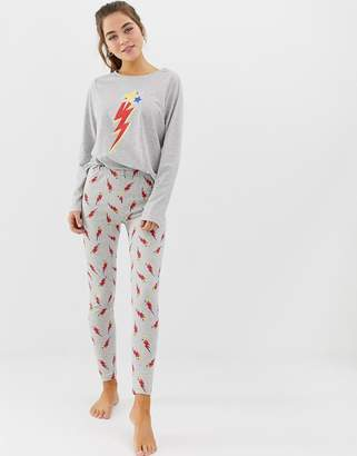 Asos Design DESIGN mix & match lightning bolt pyjama jersey legging