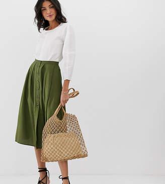 Asos Tall DESIGN Tall Button Front Floaty Midi Skirt