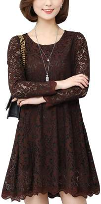 OCHENTA Women's Floral Lace Long Sleeve Cocktail Casual Short Tunic Shift Dress Tag 2XL - US 8-10