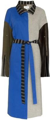 Esteban Cortazar patchwork wool trench coat