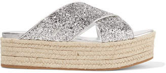 Miu Miu Glittered Leather Espadrille Platform Sandals - Silver