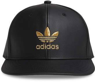 adidas Men's Originals Faux-Leather Metallic-Logo Hat