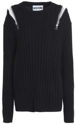 Moschino Zip-Embellished Ribbed Wool And Cashmere-Blend Sweater