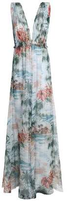 Valentino Floral-Print Silk-Voile Maxi Dress