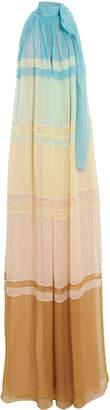 Alberta Ferretti High Neck Colorblock Gown