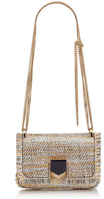 Jimmy Choo LOCKETT MINI Silver Mix Woven Metallic Fabric Shoulder Bag