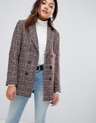 New Look check blazer Coat in rust