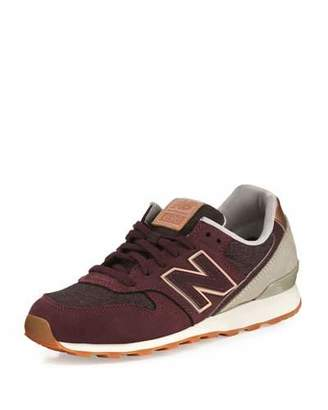 New Balance 696 In-Line Mix Trainer Sneaker, Supernova Red $150 thestylecure.com