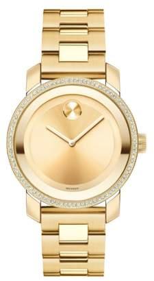 Movado 'Bold' Diamond Bezel Bracelet Watch, 36mm