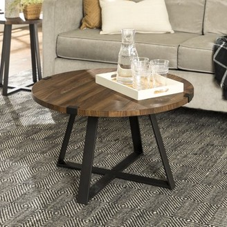 "Manor Park 30"" Rustic Urban Industrial Wood and Metal Wrap Round Coffee Table - Dark Walnut/Black"
