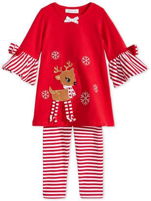 Bonnie Jean Toddler Girls 2-Pc. Reindeer Tunic & Striped Leggings Set