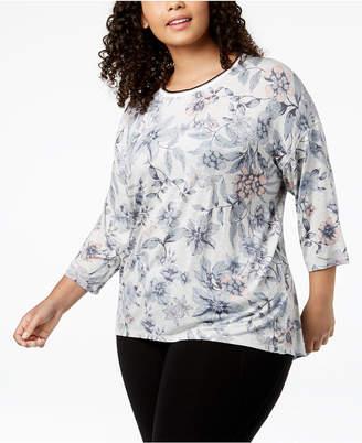 Calvin Klein Plus Size Printed Drop-Shoulder T-Shirt