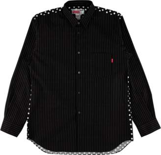 Supreme CDG Pinstripe Button Up Shirt - 'SS 14' - Black