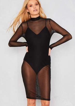 3172db32da Missy Empire Missyempire Aria Black Pinstripe Mesh Mini Dress With Bodysuit