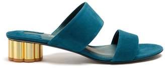 SALVATORE FERRAGAMO Belluno flower-heel suede sandals $416 thestylecure.com