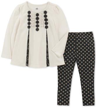 Kids Headquarters Baby Girls 2-Pc. Lace-Trim Velour Tunic Floral-Print & Leggings Set