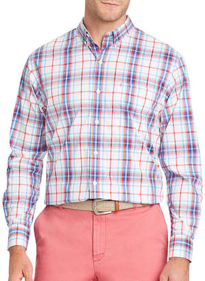 Izod Long Sleeve Plaid Button-Front Shirt